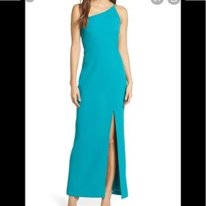NWT Vince Camuto Turquoise One Shoulder Gown 14